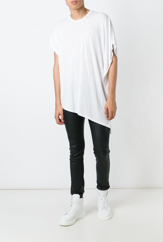 UNCONDITIONAL Signature crew neck drape fin T-shirt, in white rayon