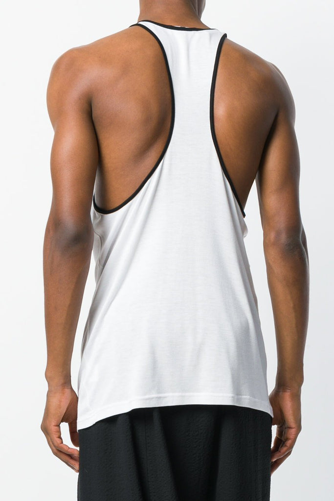 UNCONDITIONAL 18|19 White rayon racer back vest with black binding