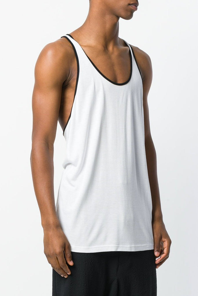 UNCONDITIONAL SS20 White rayon racer back vest with black binding
