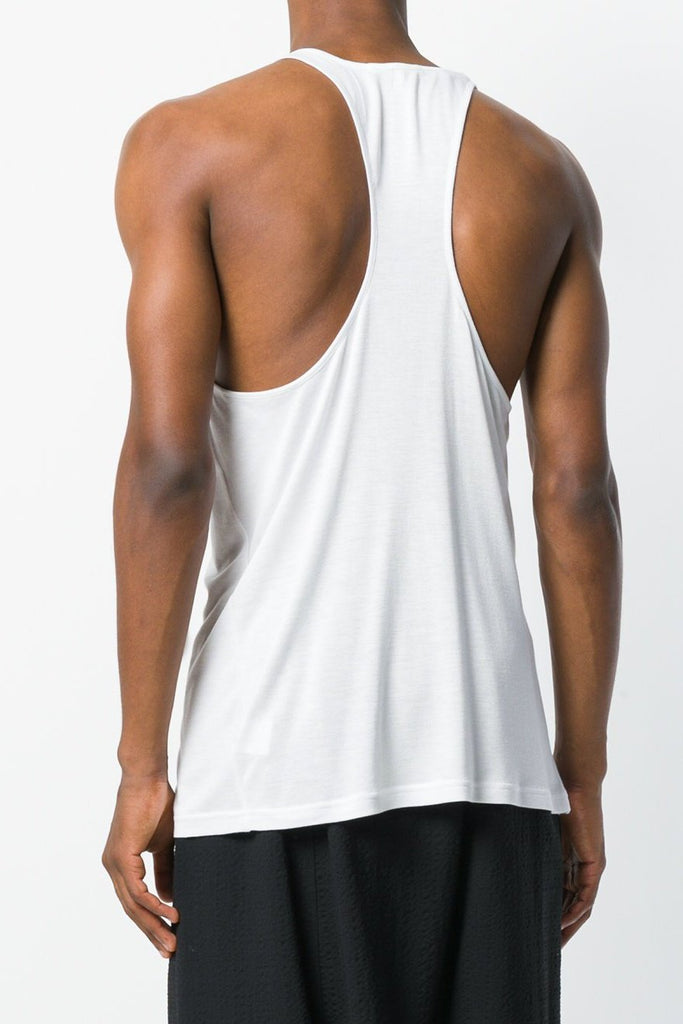 UNCONDITIONAL Mens White rayon racer back vest