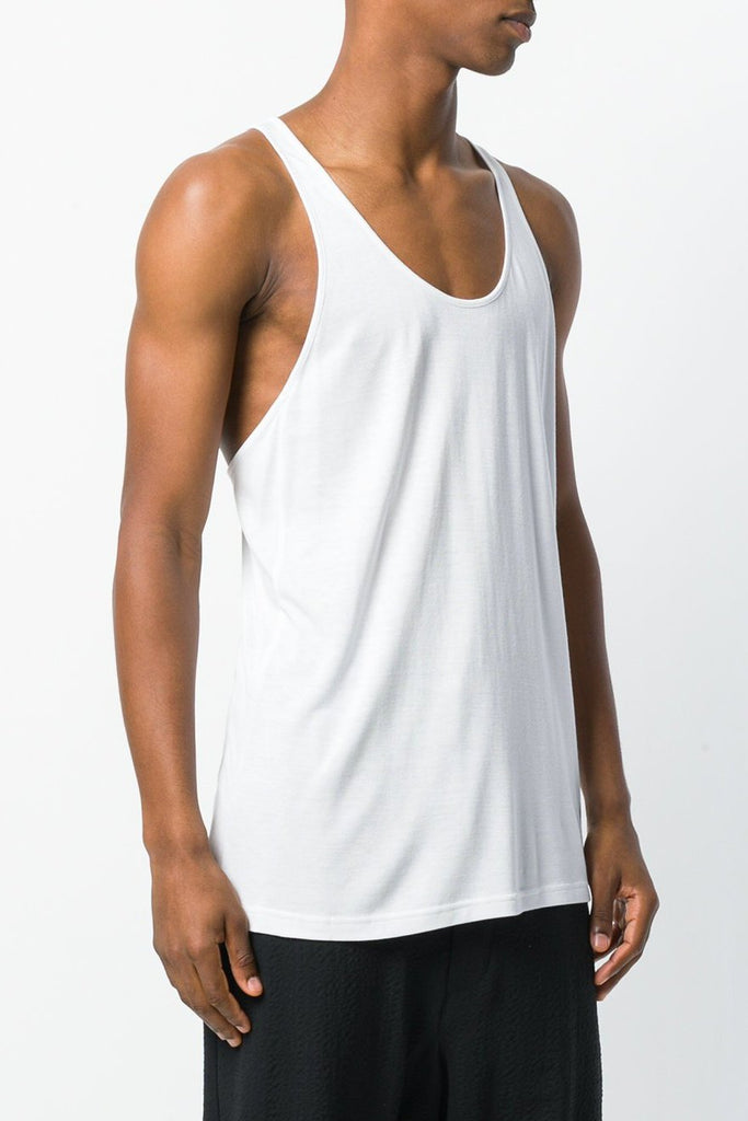 UNCONDITIONAL SS19 Mens luxe White rayon racer back vest