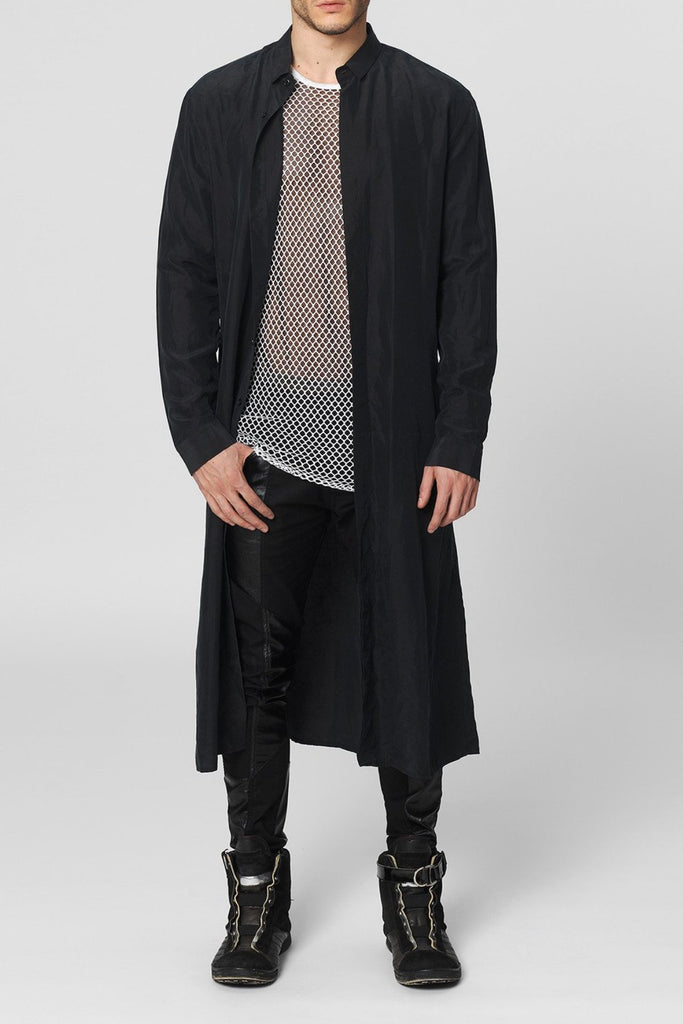 UNCONDITIONAL AW16 black long silk shirt