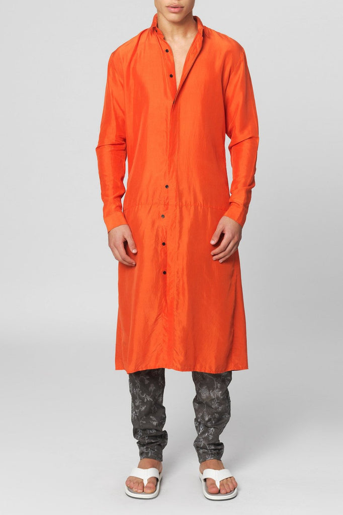 UNCONDITIONAL SS16 orange long washed silk shirt