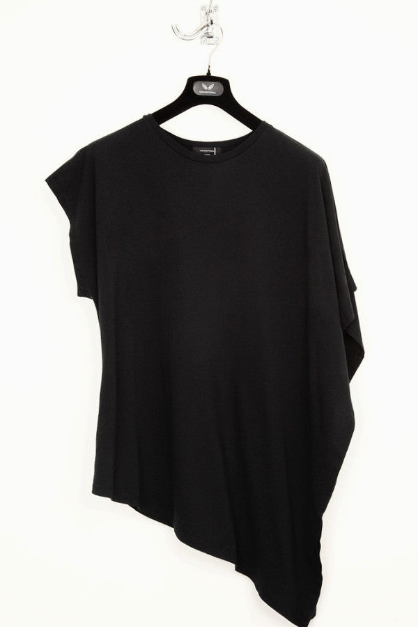 UNCONDITIONAL pure cotton black 'fin' drape T-shirt N30