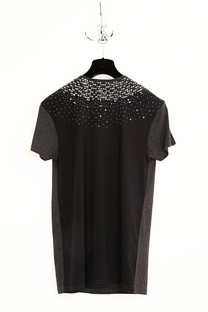 UNCONDITIONAL charcoal scoop neck T-shirt with pewter hand beading and black contrast back