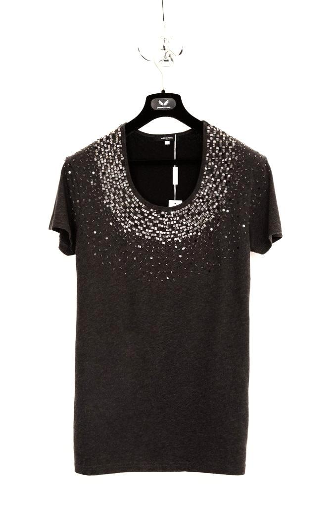 UNCONDITIONAL Black and Charcoal scoop neck T-shirt with pewter hand beading and black contrast back