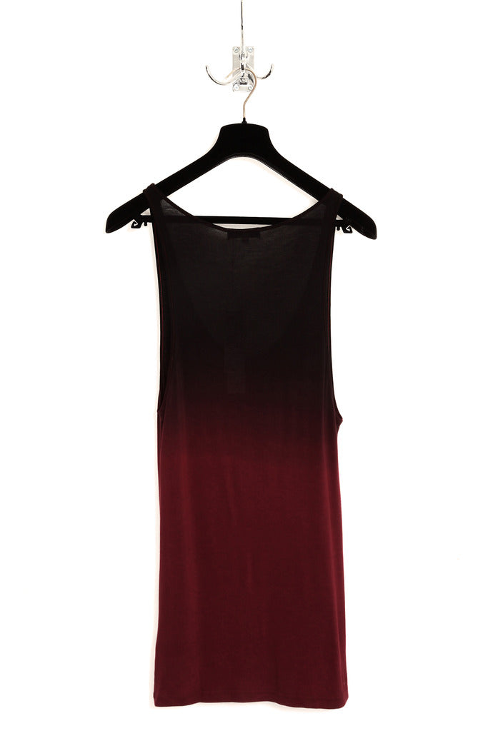 UNCONDITIONAL blood and black dip dye rayon vest.