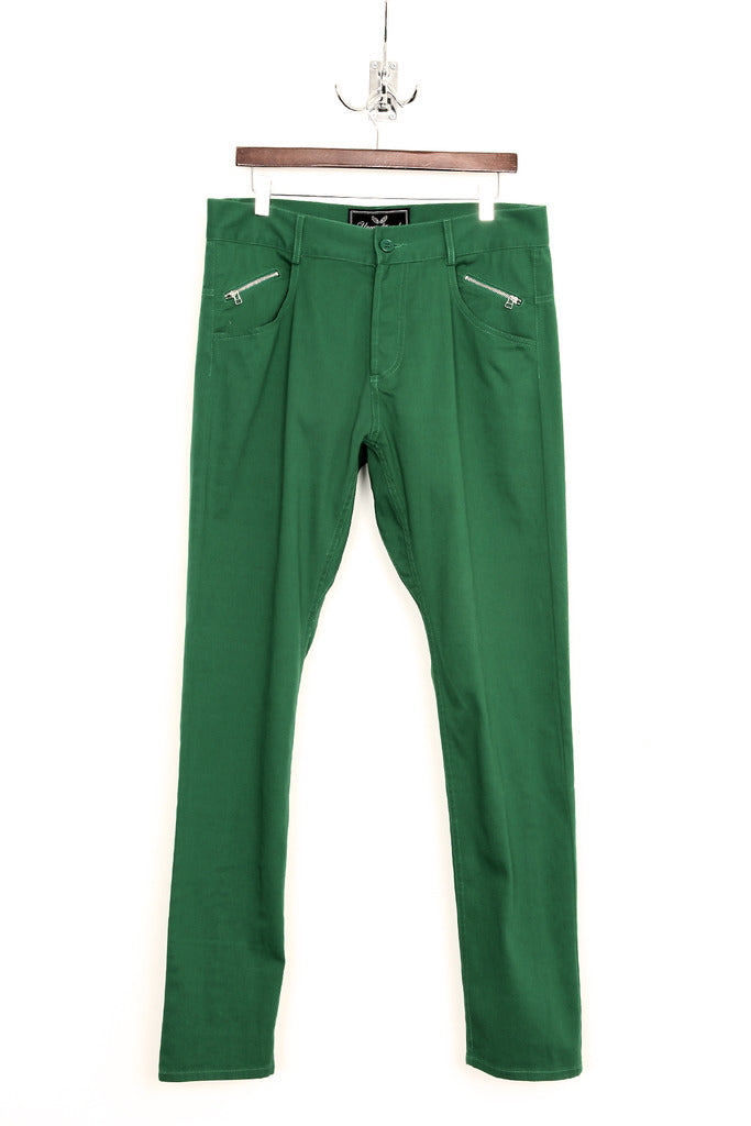 UNCONDITIONAL green stretch drill back zip drop crotch jeans.