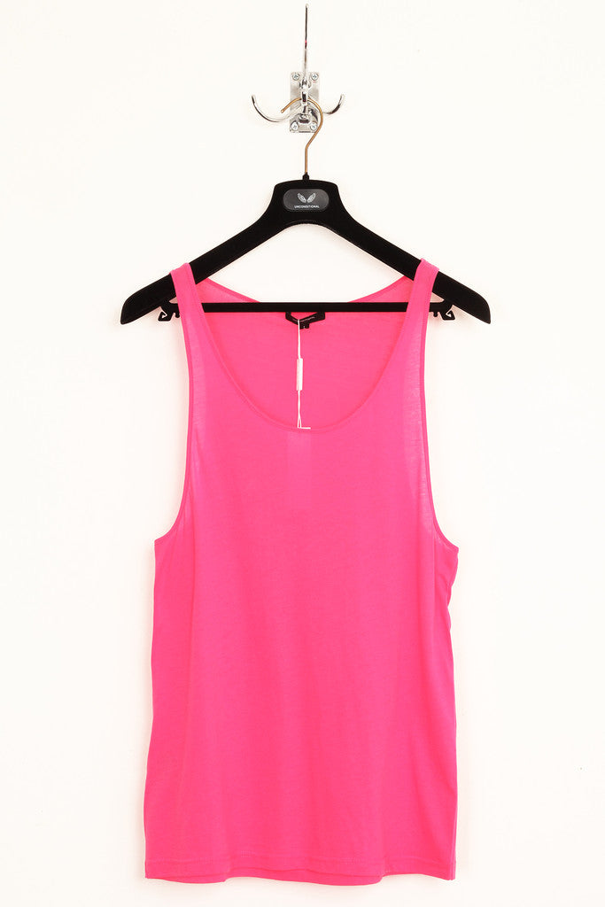 UNCONDITIONAL hot pink fine jersey vest.