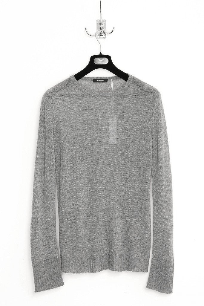 UNCONDITIONAL rock grey silk cashmere loose knit crew neck jumper