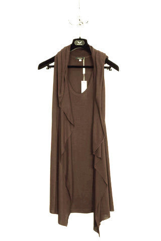 UNCONDITIONAL Tobacco hooded signature cape drape rayon vest.