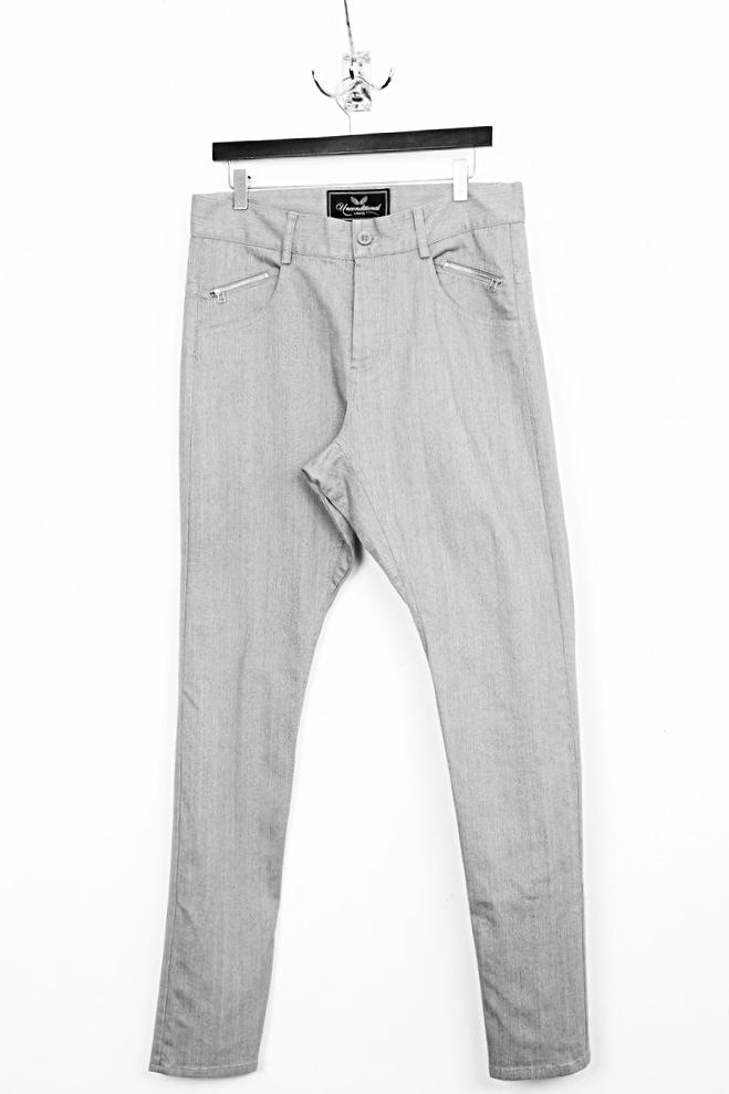 UNCONDITIONAL light grey dropped crotch back-zip jeans