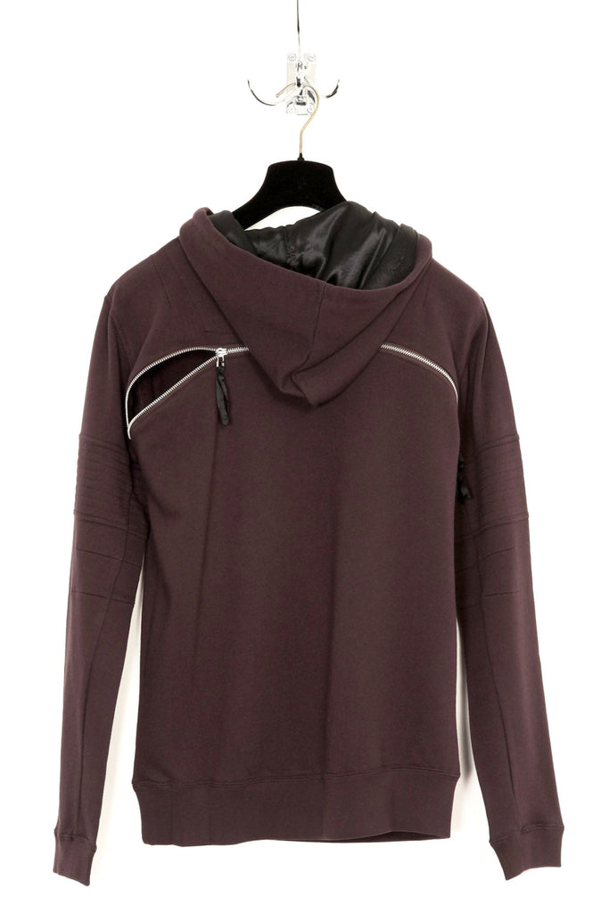 UNCONDITIONAL grape over neck hoodie with back zip detail and arm ribbing .