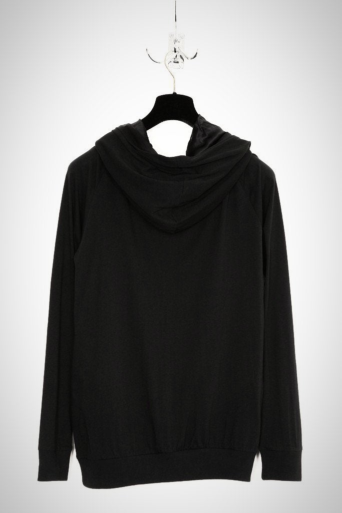 UNCONDITIONAL SS18 Black cotton silk lined drape cross hoodie
