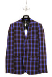 UNCONDITIONAL Blue and black check one button jacket