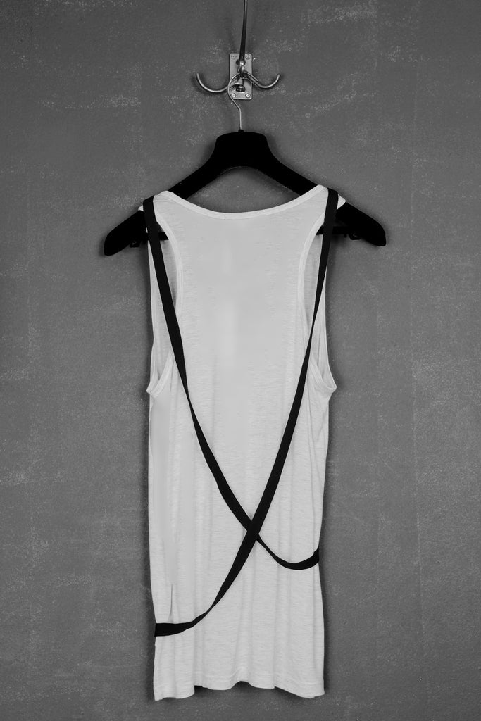 UNCONDITIONAL SS18 Black and White bondage strap vest.