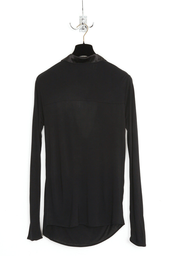 UNCONDITIONAL AW19 Black draped plunge placket long sleeved shirt