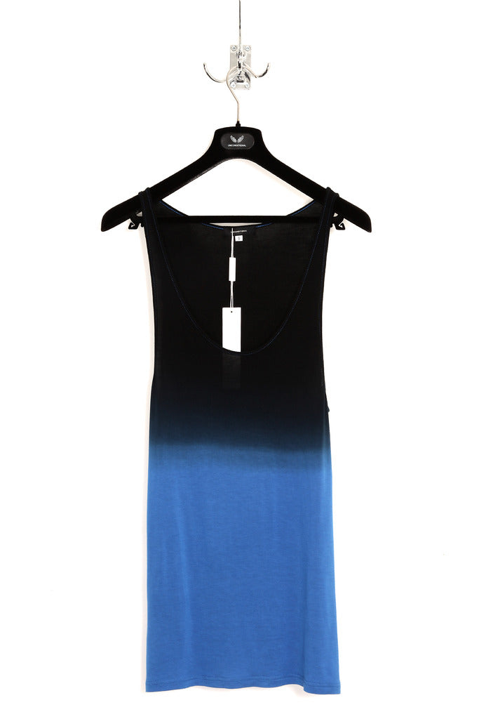UNCONDITIONAL electric blue and black dip dye rayon vest.