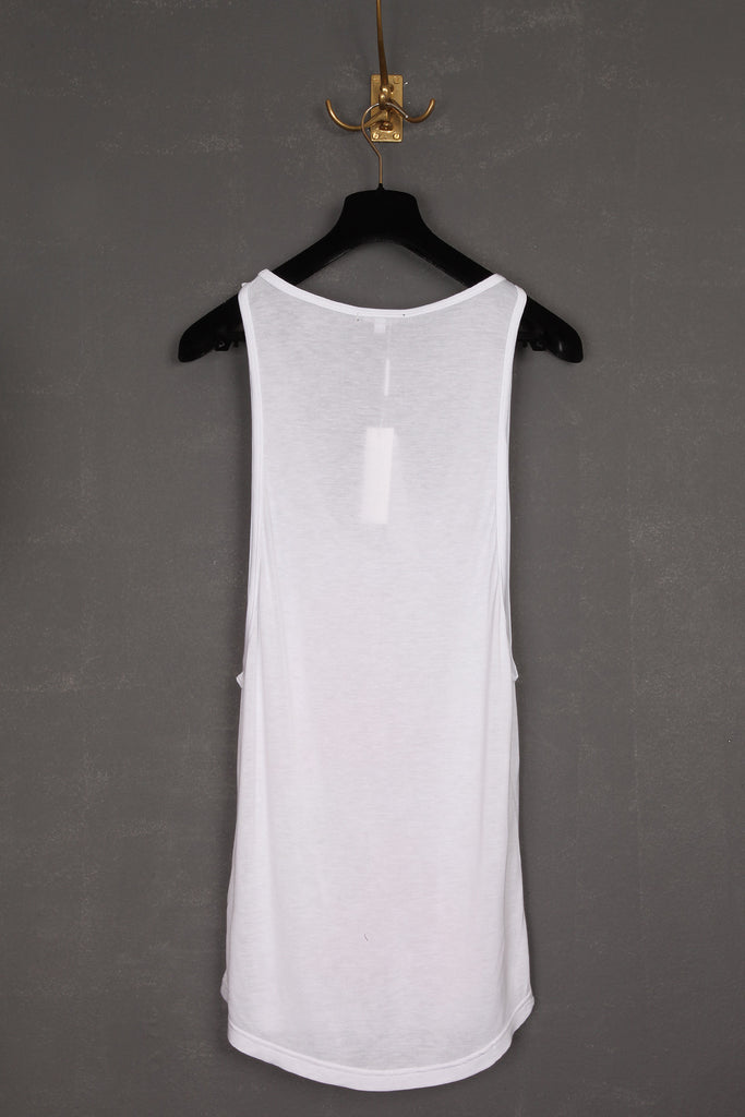 UNCONDITIONAL white rayon low neck vest with strawberry print.