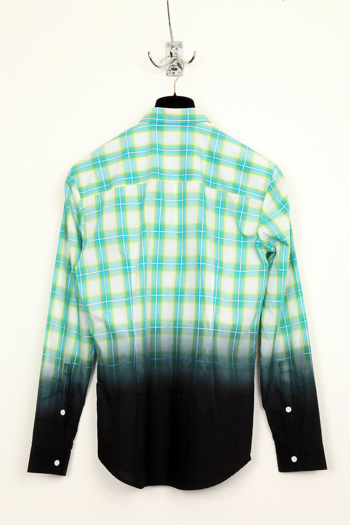UNCONDITIONAL dip dyed green check basic shirt.