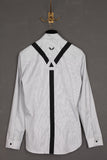 UNCONDITIONAL pinstripe long sleeve braces shirt.