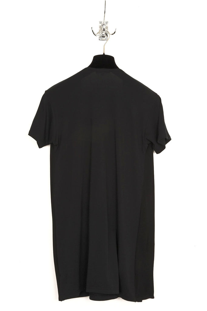 UNCONDITIONAL SS18 Black t-shirt with buttoned asymmetric drape waistcoat