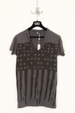UNCONDITIONAL Dark Grey spill neck tee with Americana flag print.