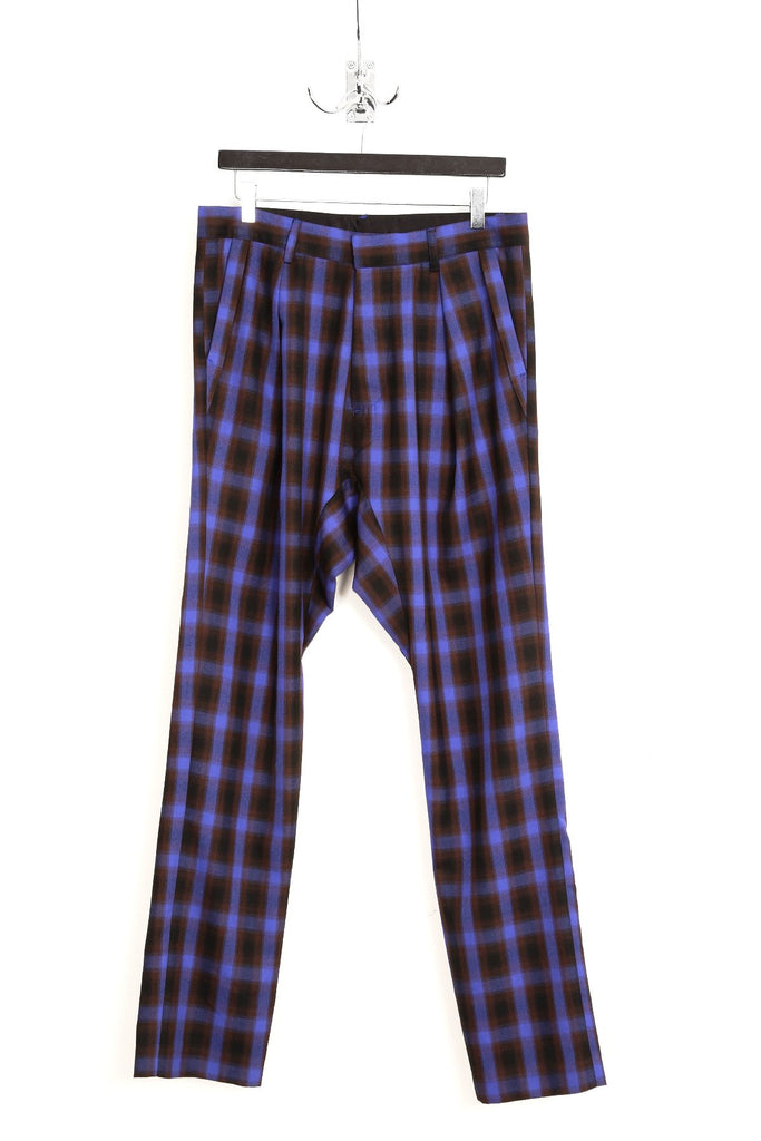 UNCONDITIONAL blue and black check back zip  drop crotch trousers.