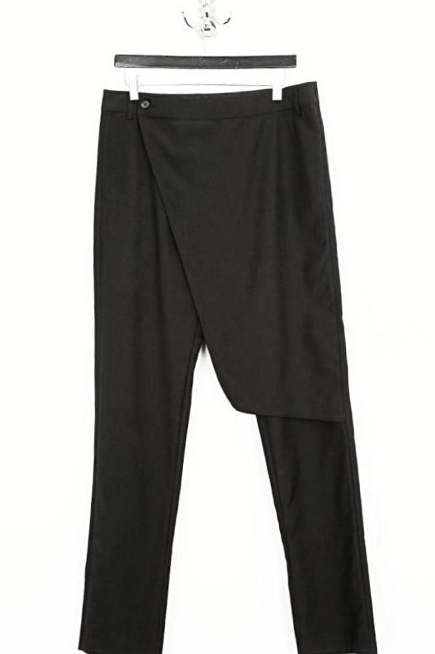 UNCONDITIONAL Signature tailored black wool long skirt-flap trouser.