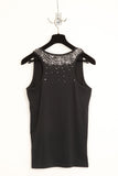 UNCONDITIONAL black cotton vest with pewter hand beading.