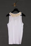 UNCONDITIONAL White vest with gold beading - limited edition