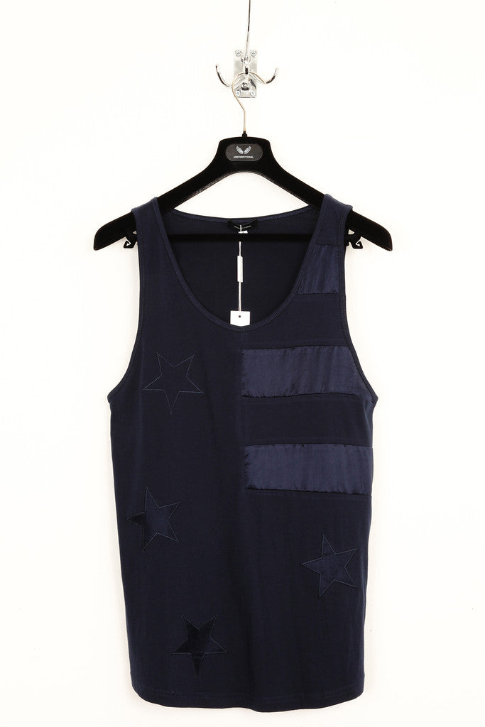 UNCONDITIONAL ink blue (Navy) silk stars and stripes americana vest