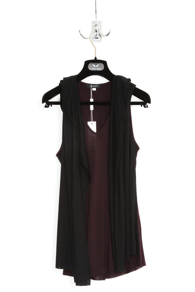 UNCONDITIONAL grape and black hooded cape vest.