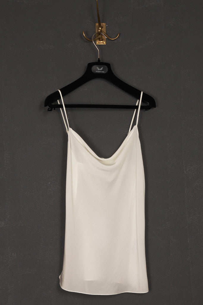 UNCONDITIONAL Ivory signature drape front silk crepe camisole