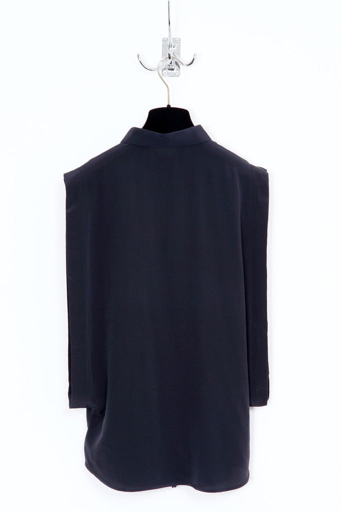 UNCONDITIONAL SS16 black open sided pure silk crepe blouse with baby collar.