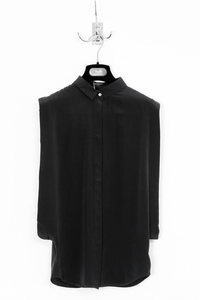 UNCONDITIONAL Black open sided pure silk crepe blouse with baby collar.