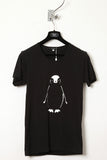 UNCONDITIONAL black with white penguin print round neck tee.