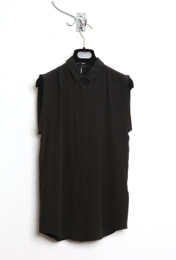 UNCONDITIONAL SS16 black sleeveless blouse with back split.