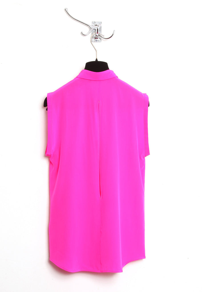 UNCONDITIONAL pink sleeveless blouse with back split.