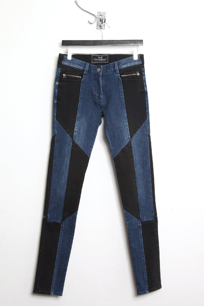 UNCONDITIONAL Indigo and black patchwork skinny jeans.