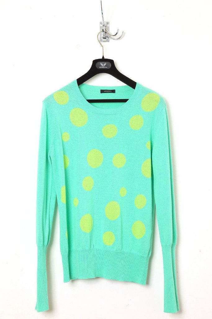 UNCONDITIONAL mint and leaf cotton linen mix crew neck jumper with polka dots.