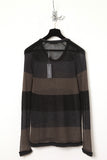 UNCONDITIONAL black, dark grey and army striped scoop neck jumper.