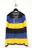 UNCONDITIONAL Black, blue, yellow stripe scoop neck cotton-linen sweater