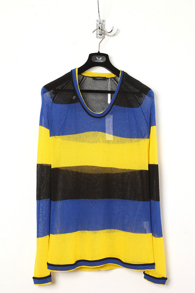 UNCONDITIONAL Black/blue/yellow stripe scoop neck cotton-linen sweater