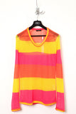 UNCONDITIONAL orange, pink and yellow striped scoop neck jumper.