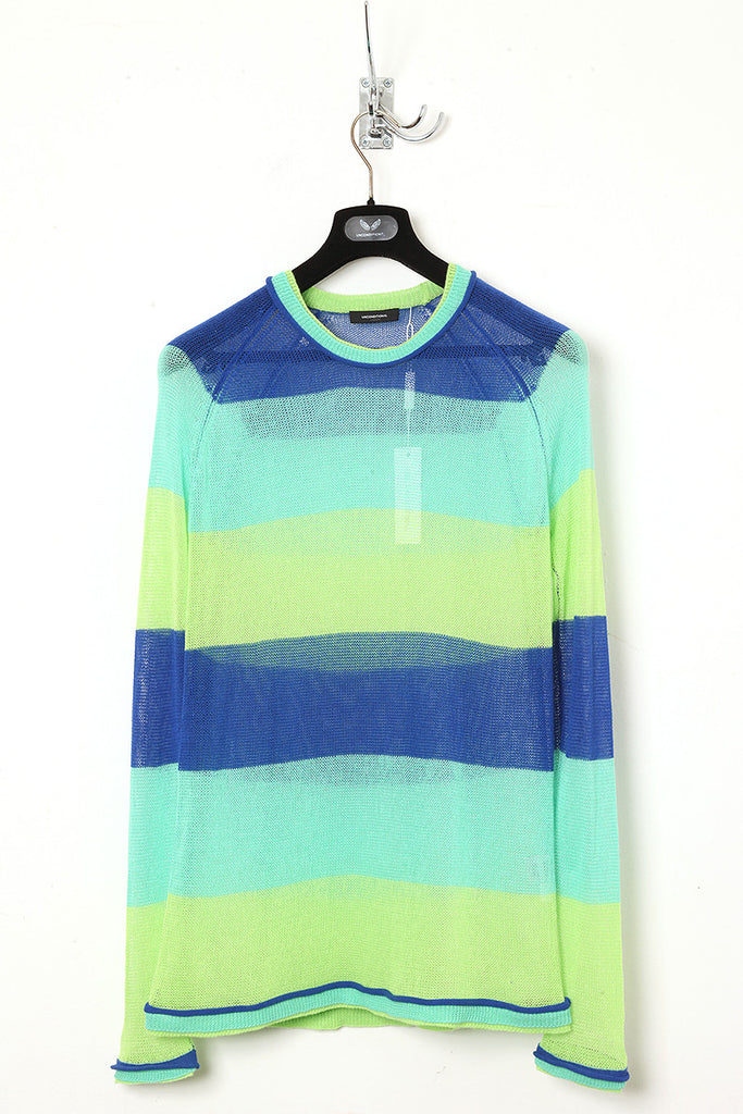 UNCONDITIONAL mint, blue and leaf striped crew neck jumper.