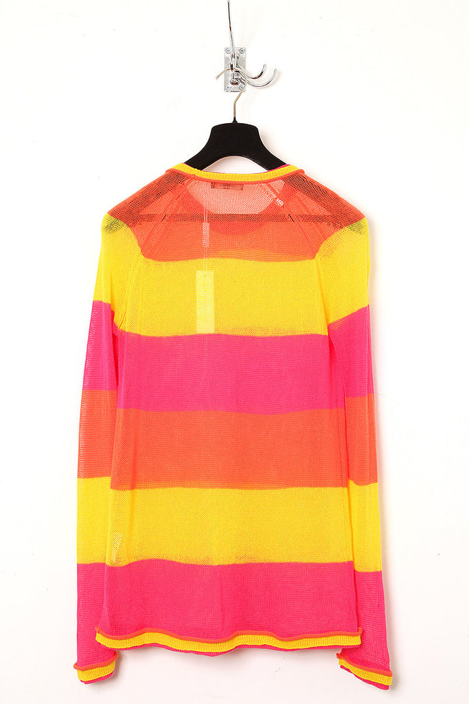 UNCONDITIONAL orange, pink and yellow striped crew neck jumper.