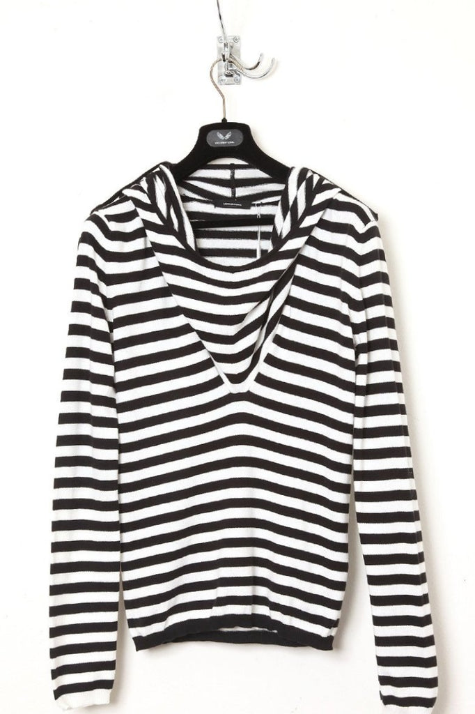UNCONDITIONAL black and white stripes ghost hoodie jumper.