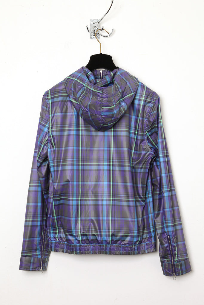 UNCONDITIONAL purple and blue and green nylon  check Alphabeat jacket.