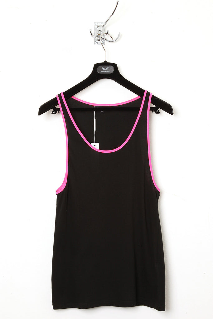 UNCONDITIONAL black with pink contrast binding classic vest.